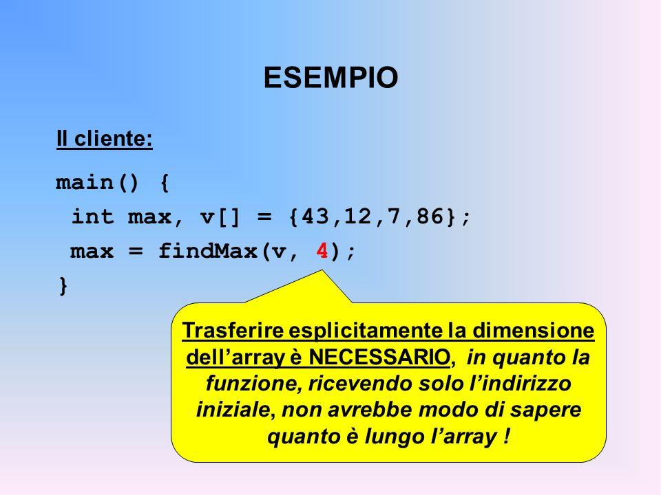 ESEMPIO main() { int max, v[] = {43,12,7,86}; max = findMax(v, 4); }
